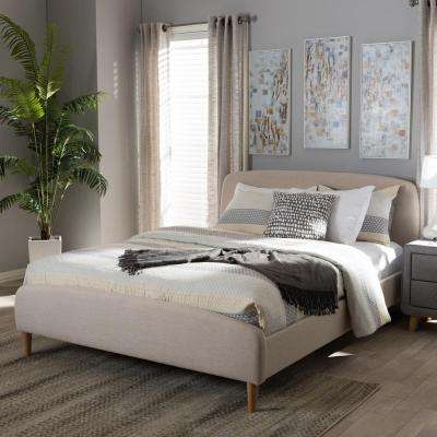 Mia Mid-Century Beige Fabric Upholstered Queen Size Bed