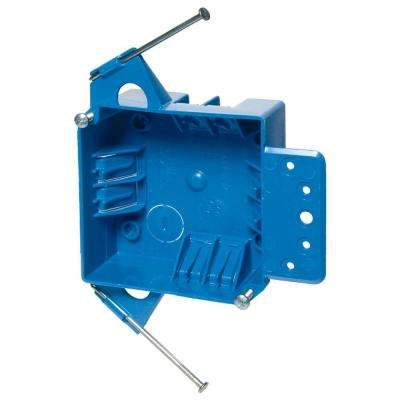 2-Gang 18 cu. in. Blue Non-Metallic New Work Switch and Outlet Box (Case of 8)