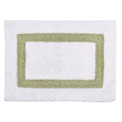 Hotel Collection White and Sage 24 in. x 40 in. Cotton Bath Rug