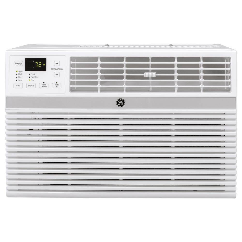 Ge 14 000 Btu 115 Volt Smart Window Air Conditioner With Remote In Gray Aec14ay The Home Depot