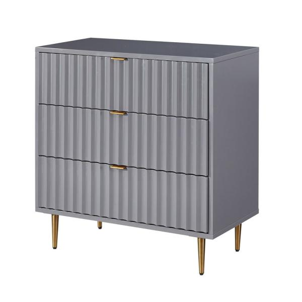 Gray MDF Fully-Assembled 3-Drawer Accent Chest of Drawers with Metal Golden Stands 31.5 in. x 31.5 in. x 15.75 in.