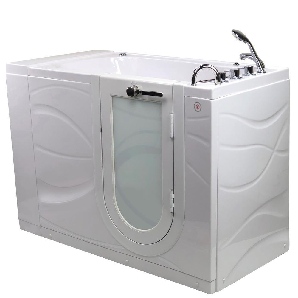 Zen 52 in. Acrylic Walk-In Whirlpool Bathtub in White W/ RH Outward Swing Door, Heated Seat, Faucet, RH 2 in. Dual Drain