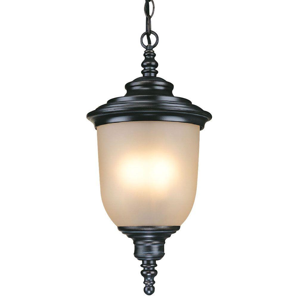Hampton Bay Chelsea 3-Light Mediterranean Bronze Outdoor Hanging Lantern
