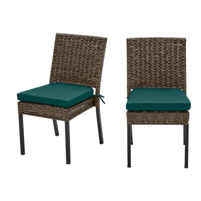 Laguna Point Brown Wicker Outdoor Patio Dining Chair with CushionGuard Malachite Green Cushions (2-Pack)