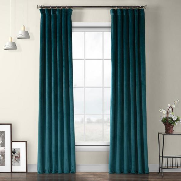 Deep Sea Teal Blue Heritage Plush Velvet Curtain - 50 in. W x 84 in. L