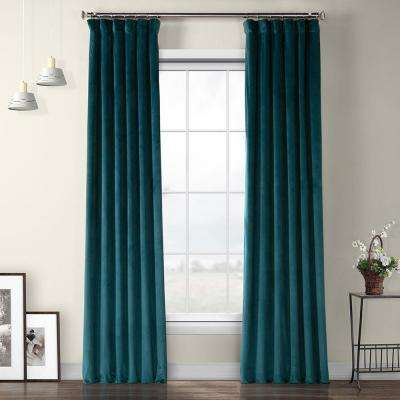 Deep Sea Teal Blue Heritage Plush Velvet Curtain - 50 in. W x 96 in. L