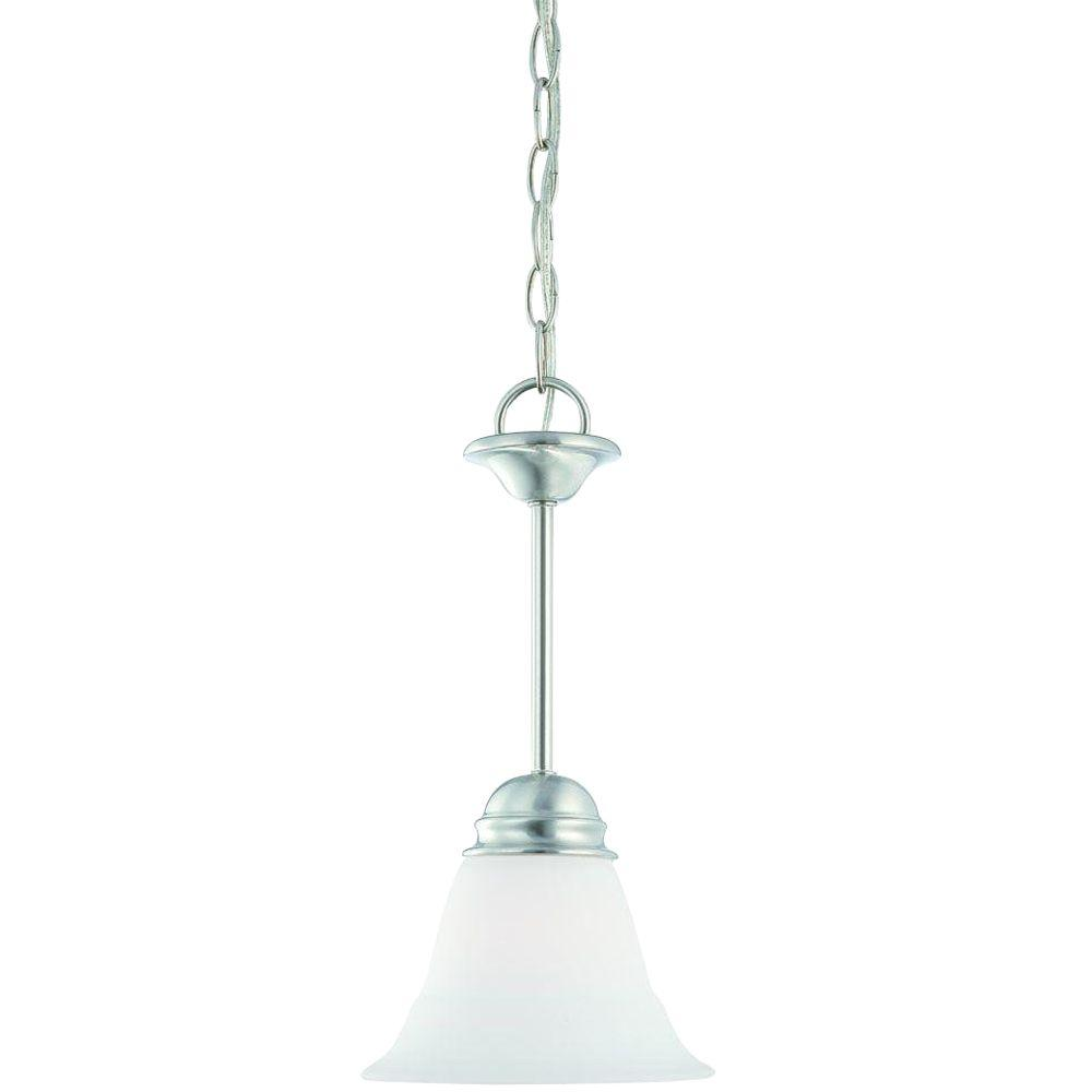 Thomas Lighting Bella 1-Light Brushed Nickel Mini Pendant with Etched Glass