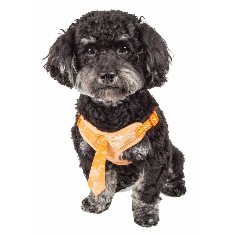 Bonatied Medium Reversible and Adjustable Dog Harness with Neck Tie in Orange