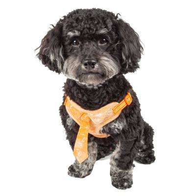 Bonatied Small Reversible and Adjustable Dog Harness with Neck Tie in Orange