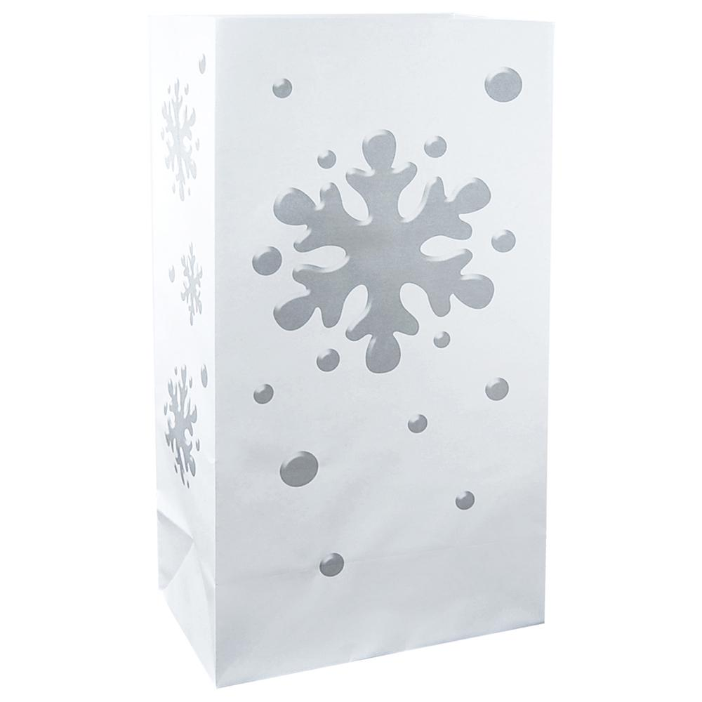 11 in. Snowflake Flame Resistant Luminaria Bags (Set of 12)