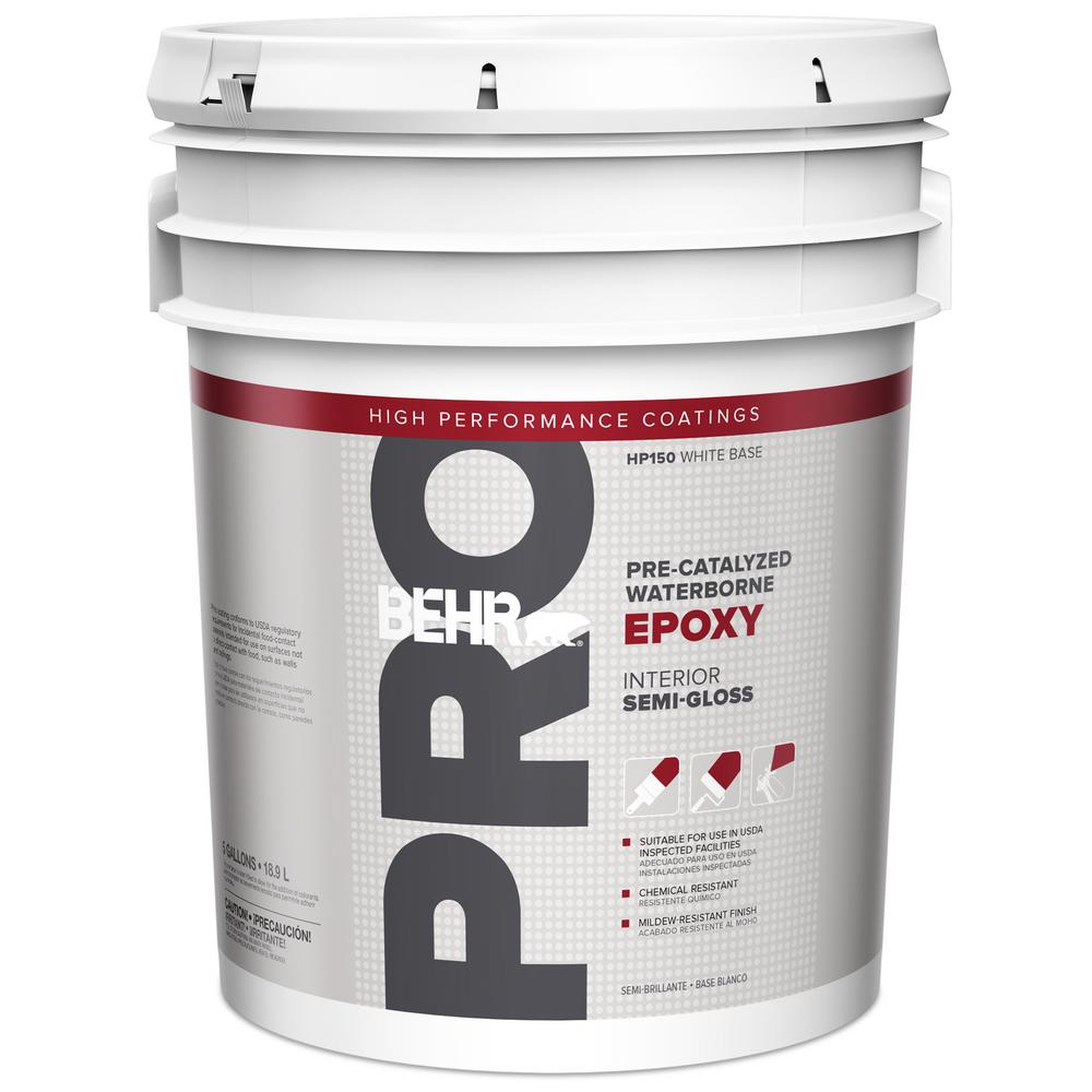 Behr Pro 5 Gal White Pre Catalyzed Epoxy Semi Gloss Interior Paint And Primer