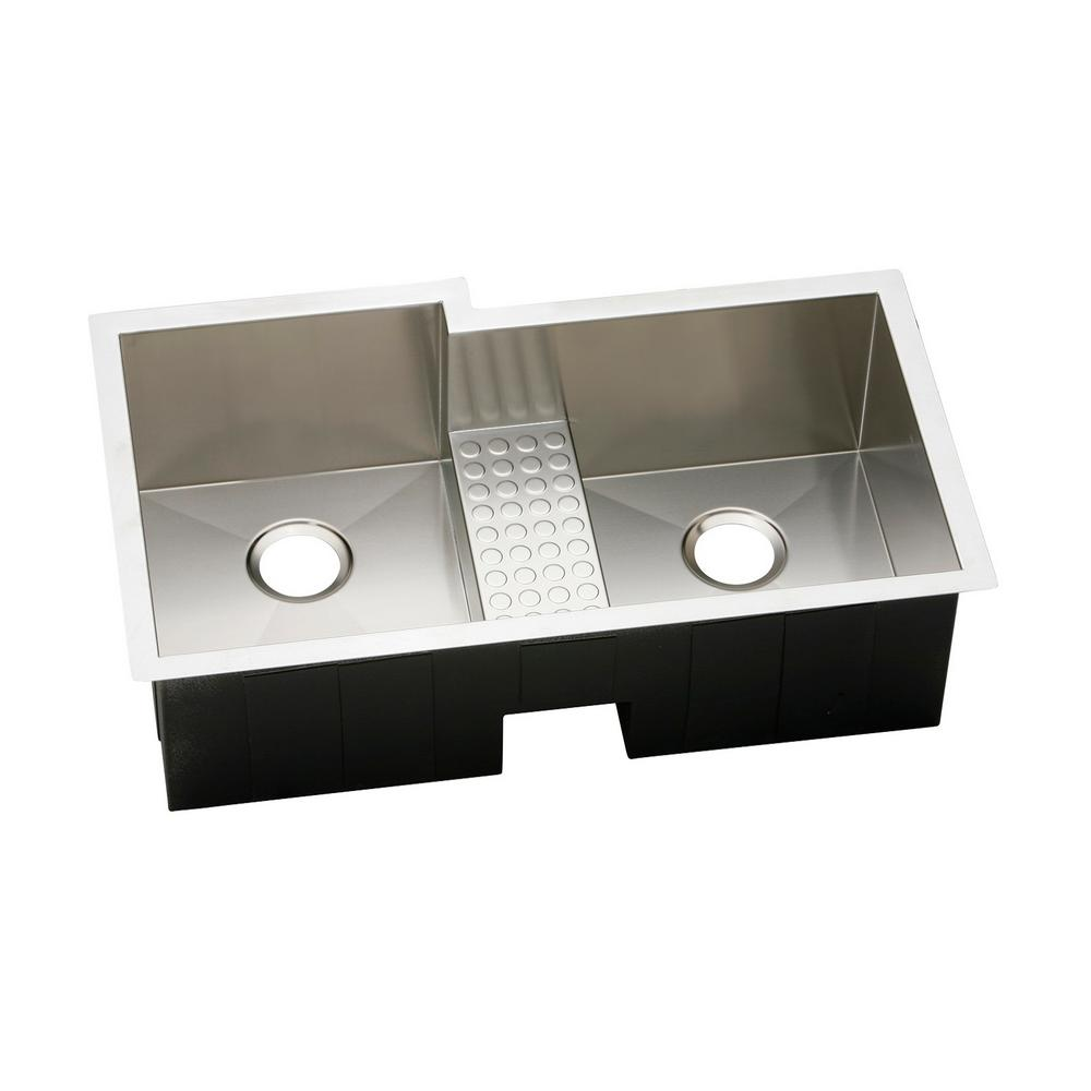 Crosstown Undermount Stainless Steel 36 in. Double Bowl Kitchen Sink