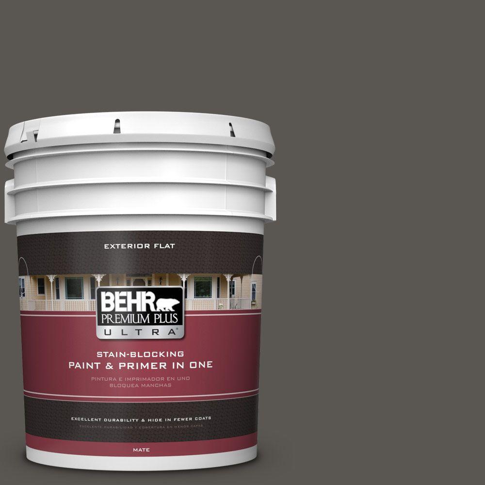 5-gal. #BXC-17 Dominant Gray Flat Exterior Paint