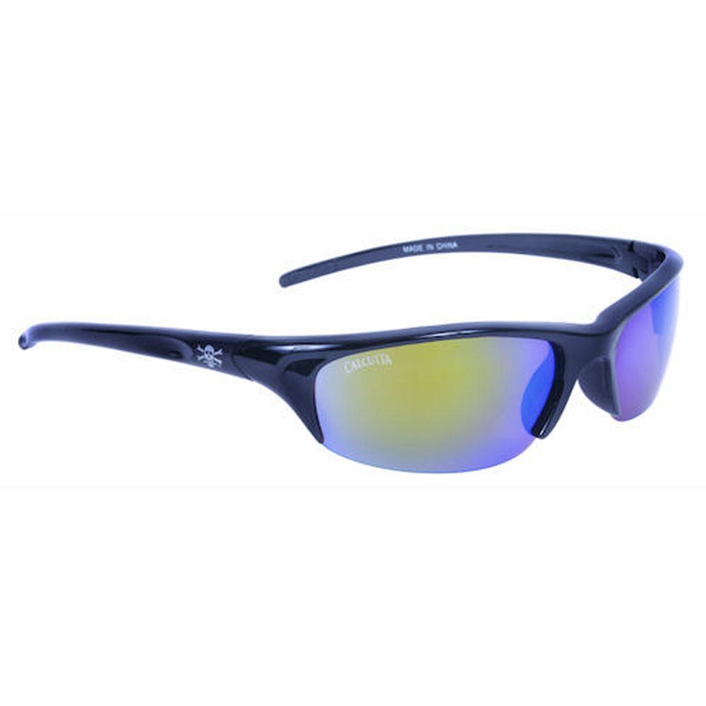 Black Frame Bermuda Sunglasses with Green Mirror Lenses