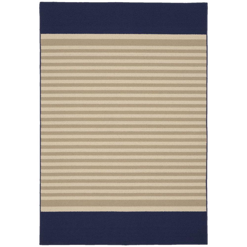 Garland Rug Sideline Navy Tan Ivory 5 Ft X 7 Ft 5 In Area Rug Ll500a060089m8 The Home Depot