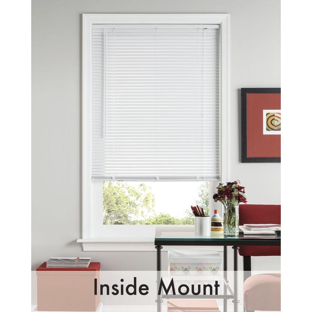 Bali Cut-to-Size White 1 in. Room Darkening Vinyl Mini Blind - 55.5 in. W x 48 in. L (Actual Size is 55 in. W x 48 in. L)