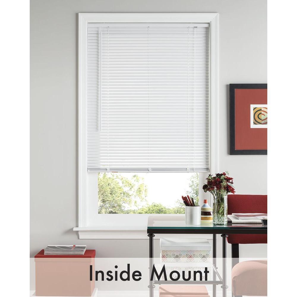Bali Cut-to-Size White 1 in. Room Darkening Vinyl Mini Blind - 35 in. W x 72 in. L (Actual Size is 34.5 in. W x 72 in. L)