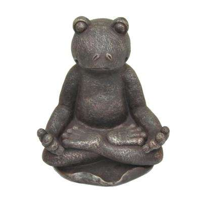 17 in. Resin Frog Decoration in Brown
