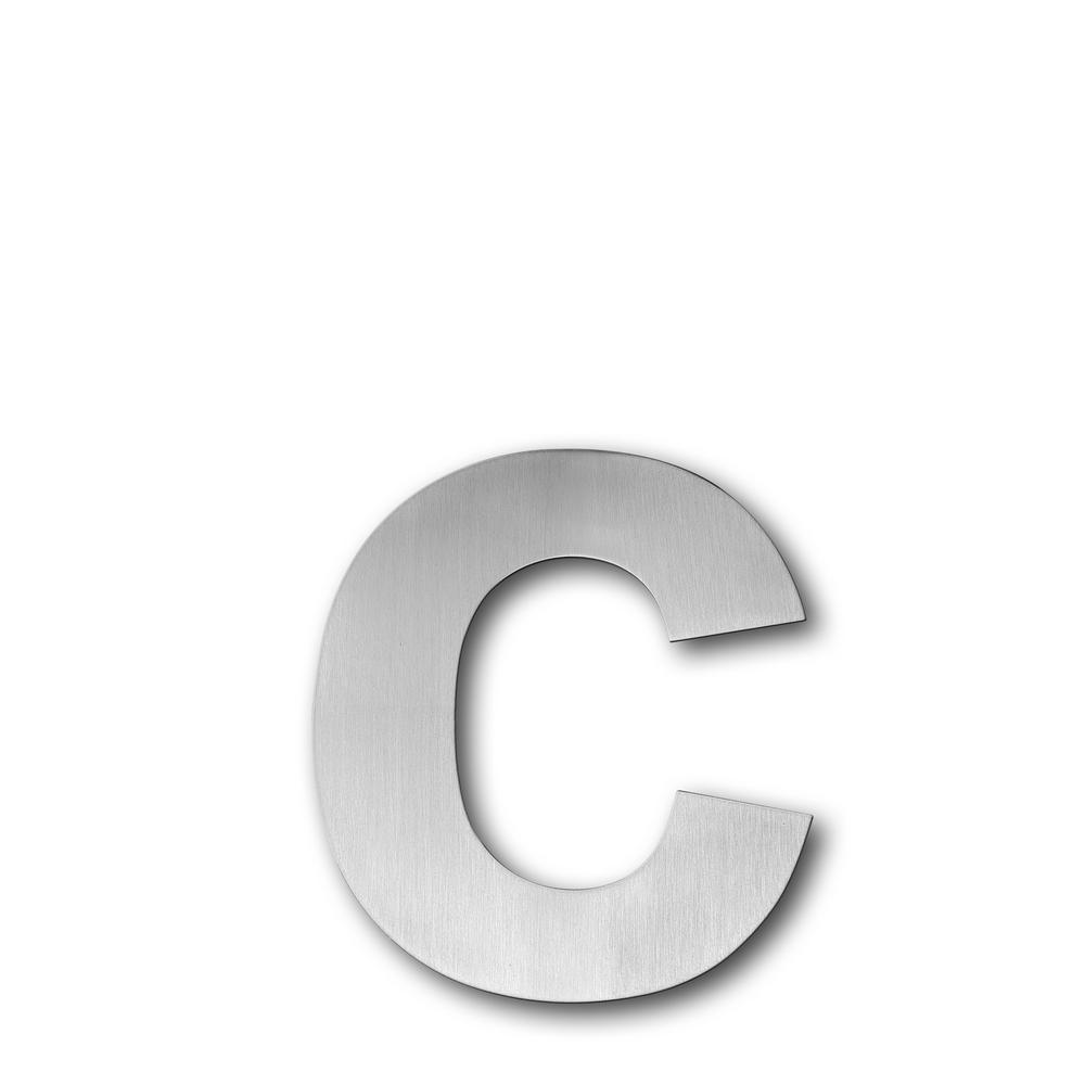 Brushed stainless steel floating modern house letter c