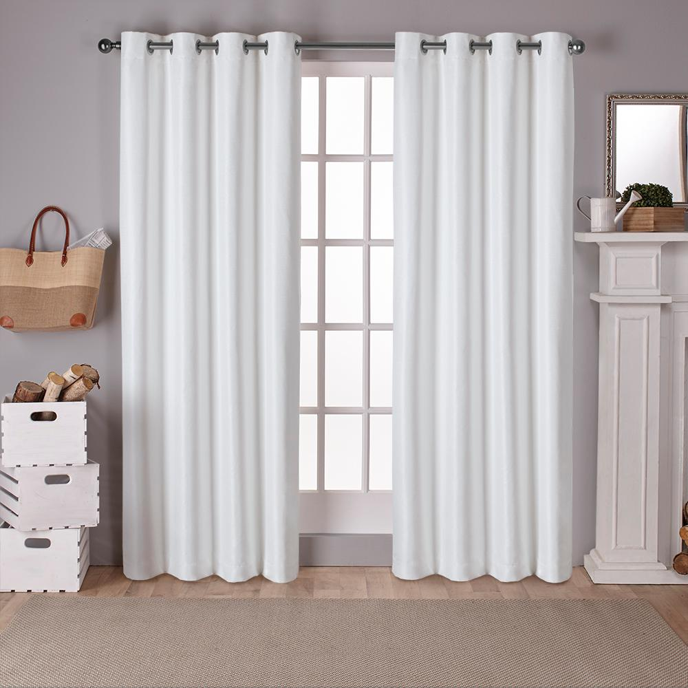 Raw Silk 54 in. W x 96 in. L Woven Blackout Grommet Top Curtain Panel in Off-White (2 Panels)