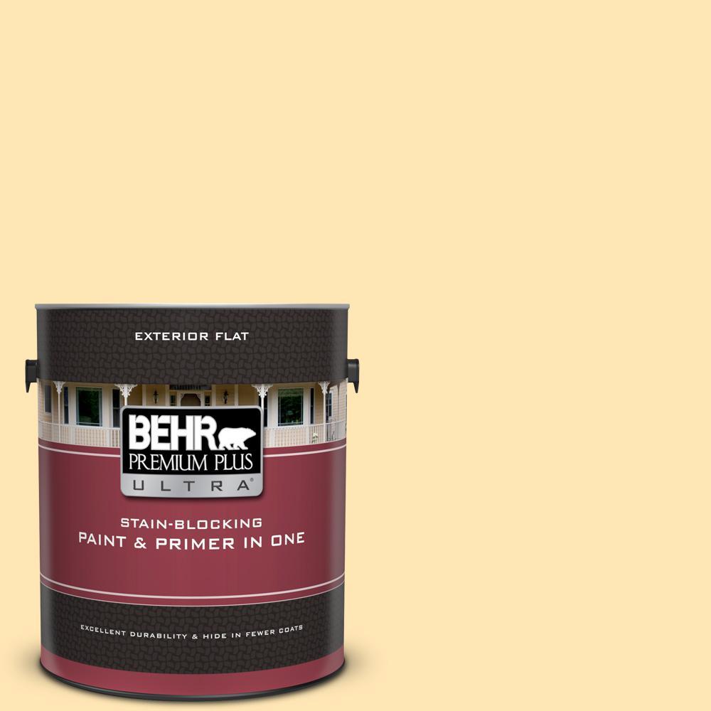 BEHR Premium Plus Ultra 1 gal. #P260-3 Vanilla Ice Cream Flat Exterior Paint and Primer in One