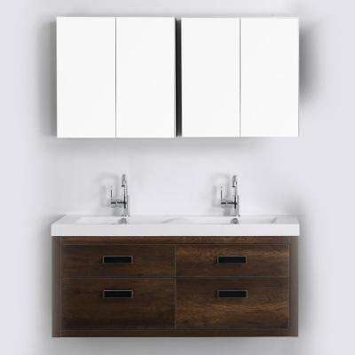 47.2 in. W x 19.4 in. H Bath Vanity in Brown with Resin Vanity Top in White with White Basin and Mirror