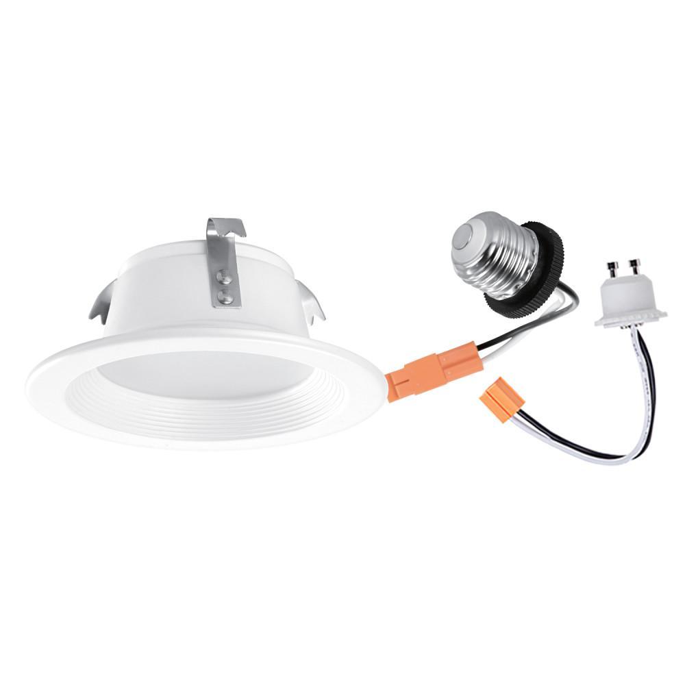 4 in. White Integrated LED Recessed Retrofit Lighting Trim