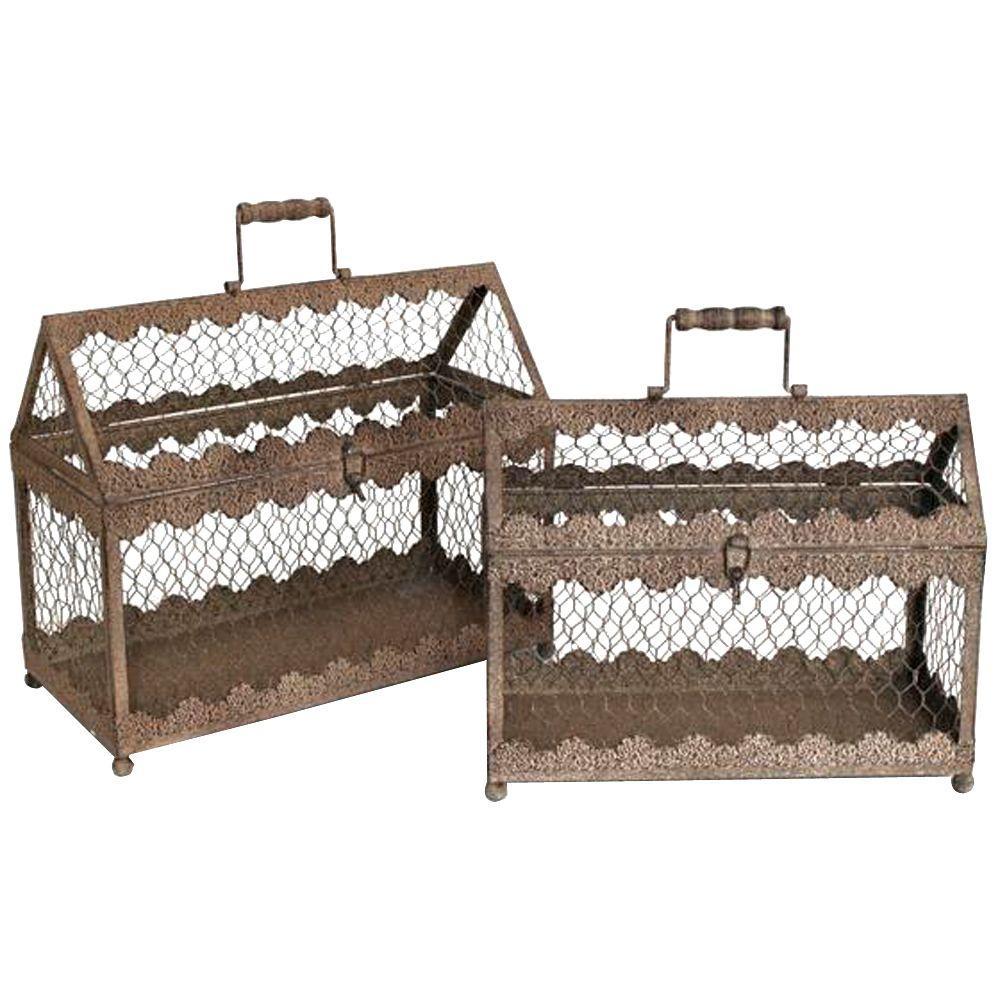 Home Decorators Collection Tan Vintage Terrarium Cage Planter (Set of 2)