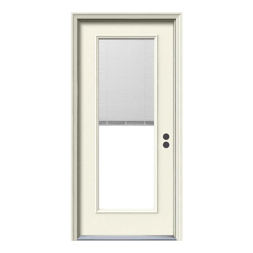 Jeld Wen 32 In X 80 In Full Lite Primed Steel Prehung Left Hand Inswing Front Door W Mini