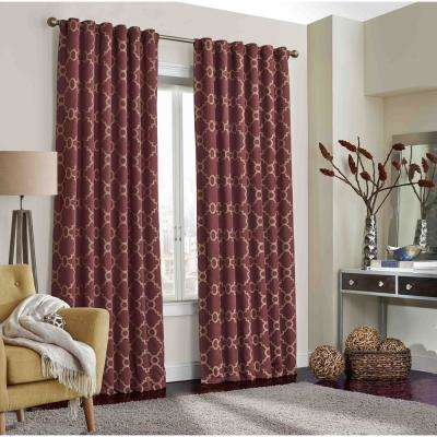 Correll 84 in. L Polyester Rod Pocket Curtain in Burgundy (1-Pack)
