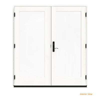 72 in. x 80 in. W-4500 White Clad Wood Left-Hand Full Lite French Patio Door w/White Paint Interior