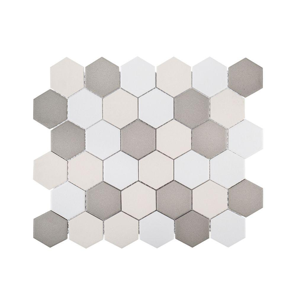 Jeffrey Court Honeycomb 11 in. x 12.625 in. x 6 mm Porcelain Mosaic ...