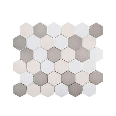 Honeycomb 11 in. x 12.625 in. x 6 mm Porcelain Mosaic Tile
