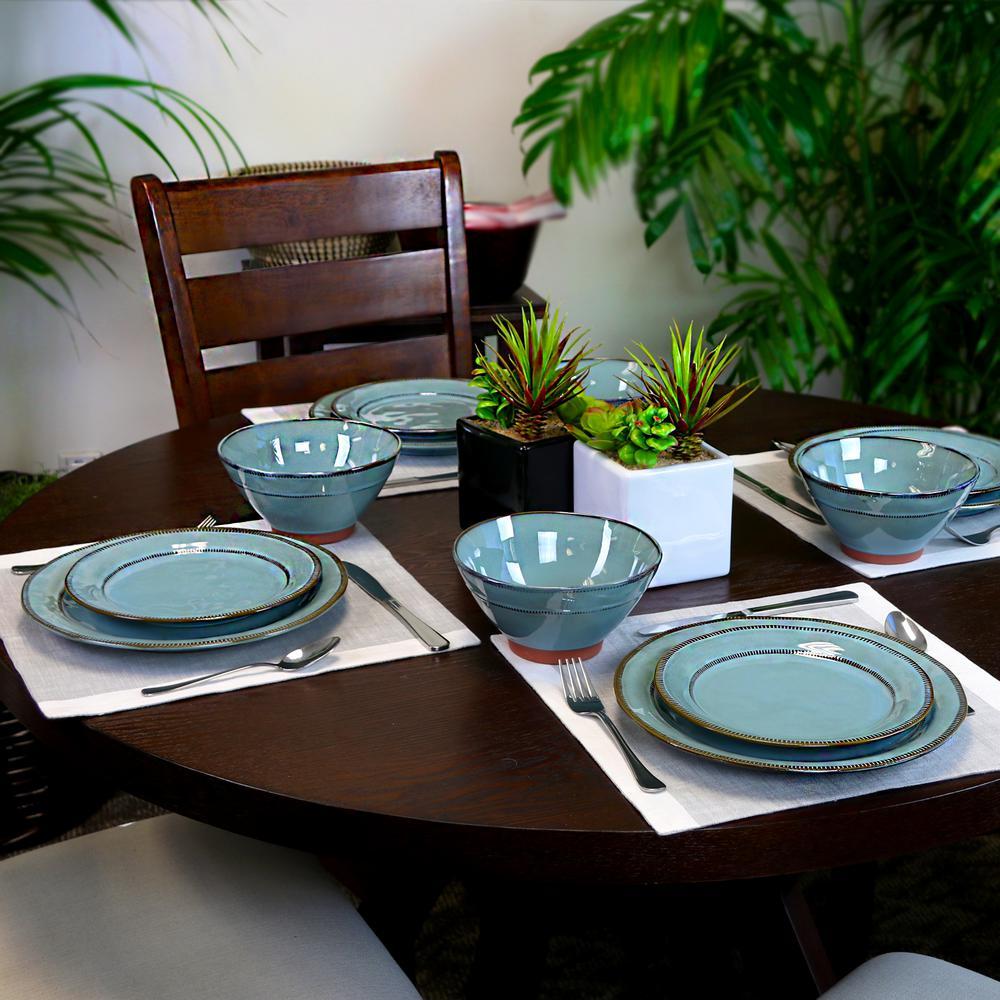 Terranea 12-Piece Teal Dinnerware Set