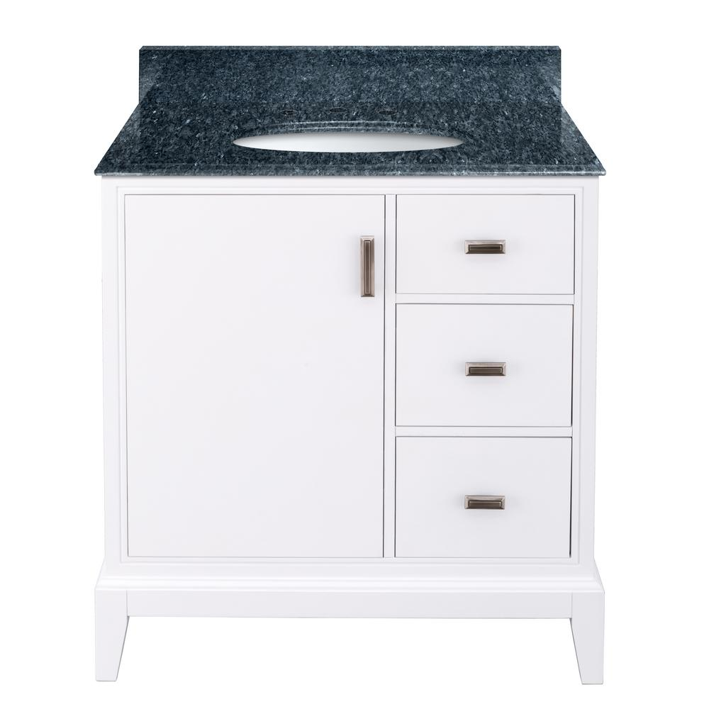 Home Decorators Collection Shaelyn 31 in. W x 22 in. D Bath Vanity in White RH Drawers with Granite Vanity Top in Blue Pearl with White Sink was $849.0 now $594.3 (30.0% off)