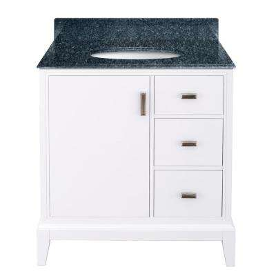 Shaelyn 31 in. W x 22 in. D Bath Vanity in White RH Drawers with Granite Vanity Top in Blue Pearl with White Sink