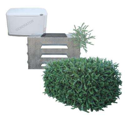 3 Sided with Top Faux Evergreen Utility Equipment Cover-Rectangular Shape