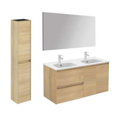 47.5 in. W x 18.1 in. D x 22.3 in. H Bathroom Vanity Unit in Nordic Oak with Mirror and Column