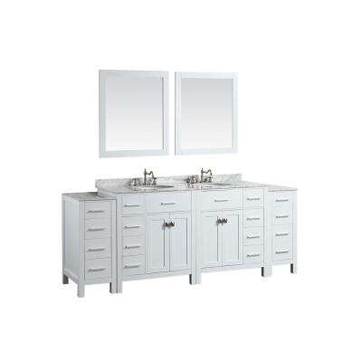 Bosconi 87 in. W Double Bath Vanity in White with White Carrara Marble Vanity Top in White with White Basin and Mirror