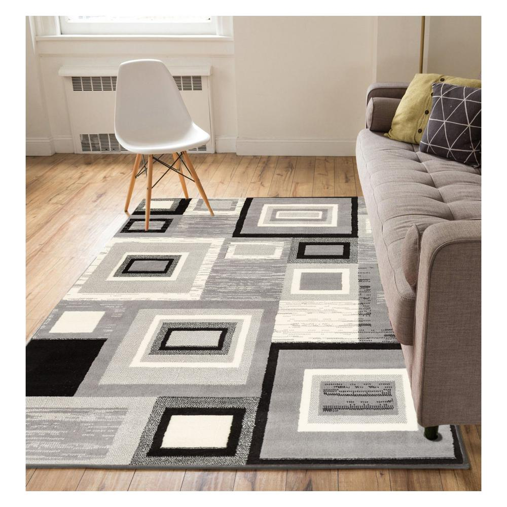 Well Woven Miami Sensation Squares Modern Geo Mid Century Grey 9 Ft X 13 Area Rug 84388 The Home Depot