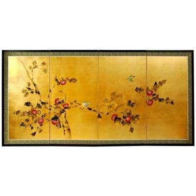 "48 in. x 24 in. ""Gold Leaf Cherry Blossom Silk Screen"" Wall Art"