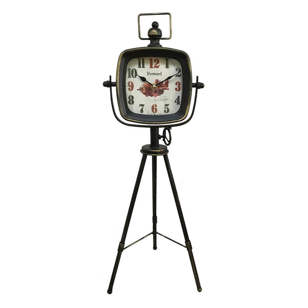 25 in. Black Metal Table Top Clock