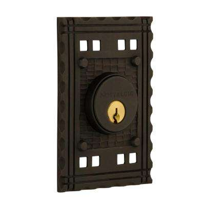 Craftsman Plate 2-3/8 in. Backset Double Cylinder Deadbolt in Oil-Rubbed Bronze