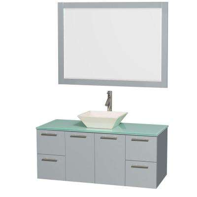 Amare 48 in. W x 21.75 in. D Vanity in Dove Gray with Glass Vanity Top in Green with Bone Basin and 46 in. Mirror