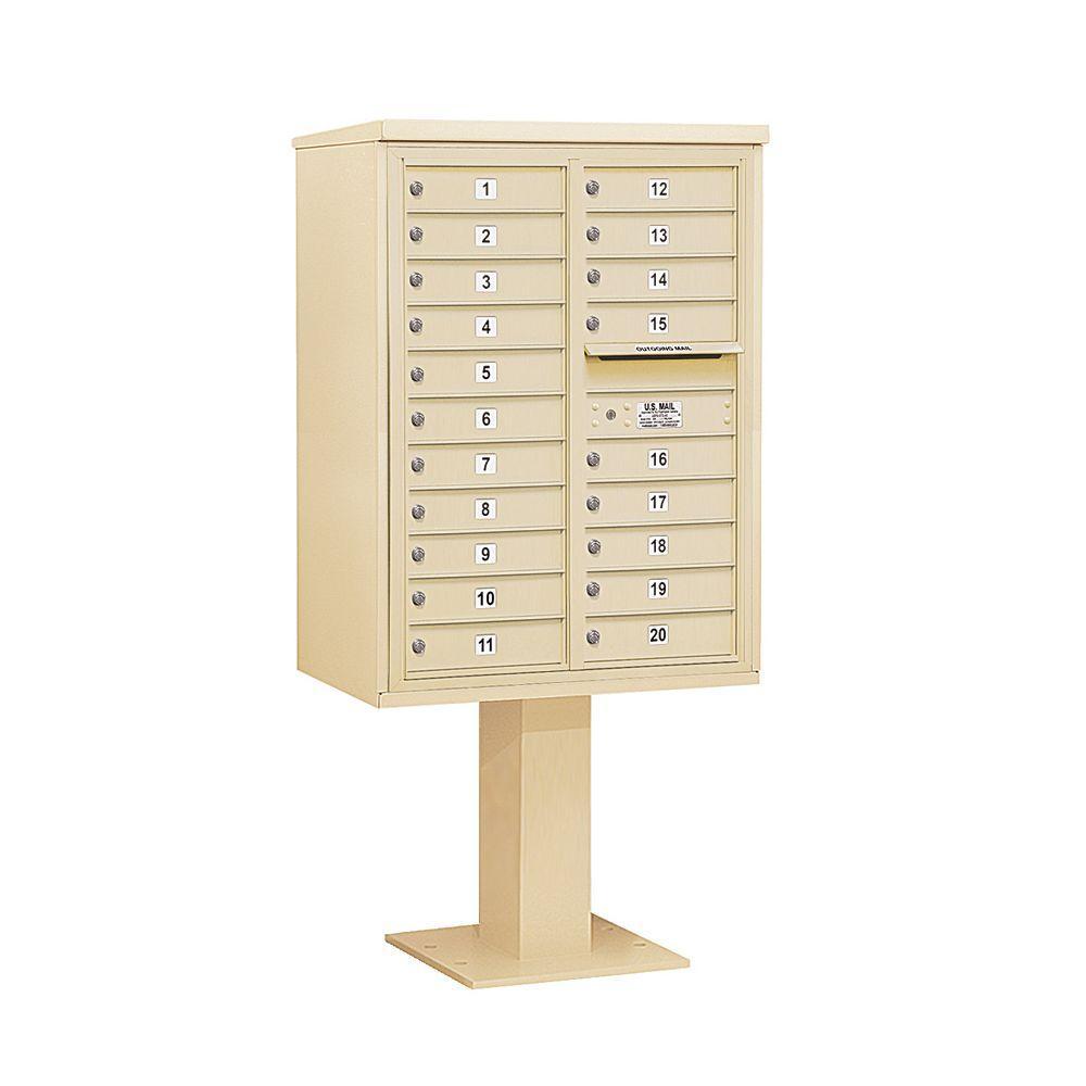 3400 Series Sandstone Mount 4C Pedestal Mailbox with 20 MB1 Doors
