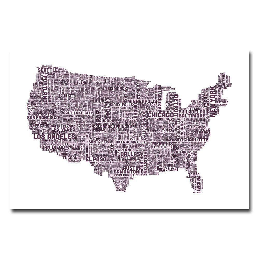 Trademark Fine Art 16 in. x 24 in. US City Map XVII Canvas Art