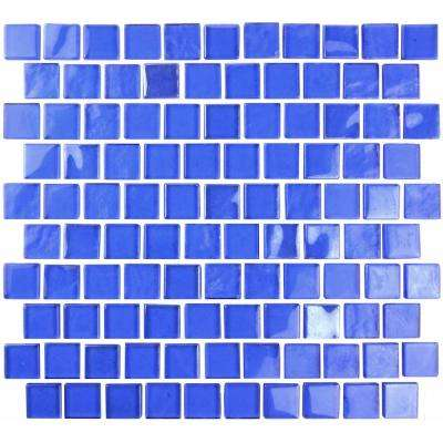 Landscape Dark Blue Translucent 10.75 in. x 11.75 in. x 6.35mm Glass Mosaic Tile
