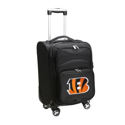 Denco NFL Cincinnati Bengals 21 in. Black Carry-On Spinner Softside Suitcase