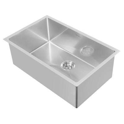 Noah Plus Dual Mount Stainless Steel 29 in. Single Bowl Kitchen Sink in Brushed Stainless Steel Sink Kit