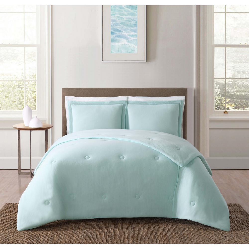 Everyday Solid Jersey Aqua  Full/Queen Comforter Set with 2-Shams